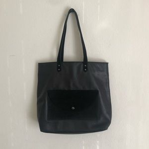 Eileen Fisher Leather Tote Suede Trim Purse Bag